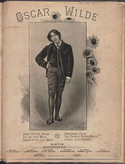 An edition of various songs written in celebration or parody of Oscar Wilde's visits and the too utterly-utter aesthetic movement. More sunflowers and the image of Wilde taken from Sarony picture 12.