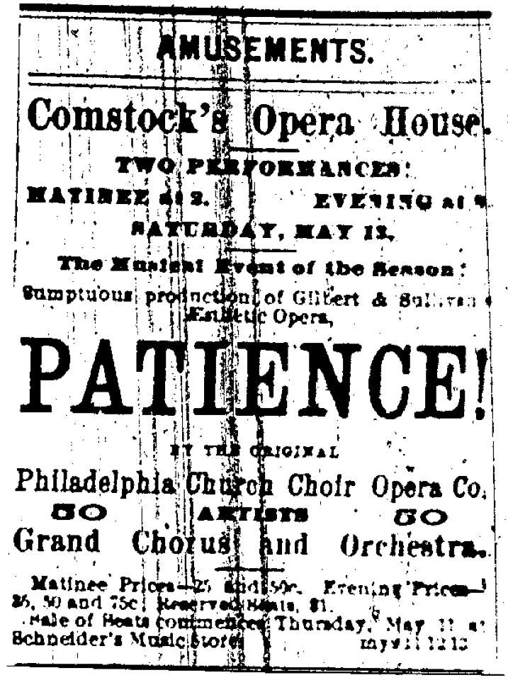 One of the principal reasons for Wilde's first visit to America was to promote the Gilbert & Sullivan opera 'Patience'.