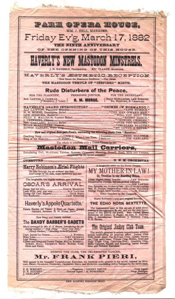 "Playbill showing a skit entitled ""Oscar's Arrival"", a parody of Wilde's arrival in New York. As early as March, Wilde was on first name terms with American audiences: 'Oscar' being enough recognition. For more on Wilde's arrival click the image."