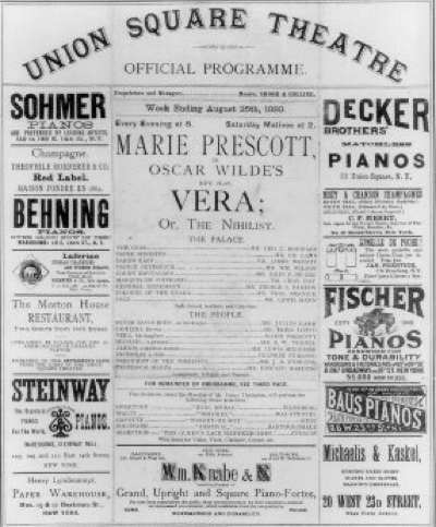 Official programme from Wilde's first ever play, performed in New York. It was not a success. For more on Vera click the image.