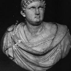 Wilde's short hair in the  1883 photographs was inspired by this bust of Nero in the Louvre