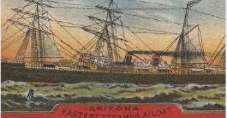 The ship on which Oscar Wilde first sailed to America  was the Guion passenger liner  S.S. Arizona