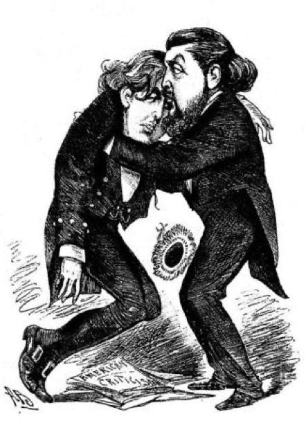 """Brother Willie- ""Never mind, Oscar; other great men have had their dramatic failures!""  1883 cartoon by Alfred Bryan."